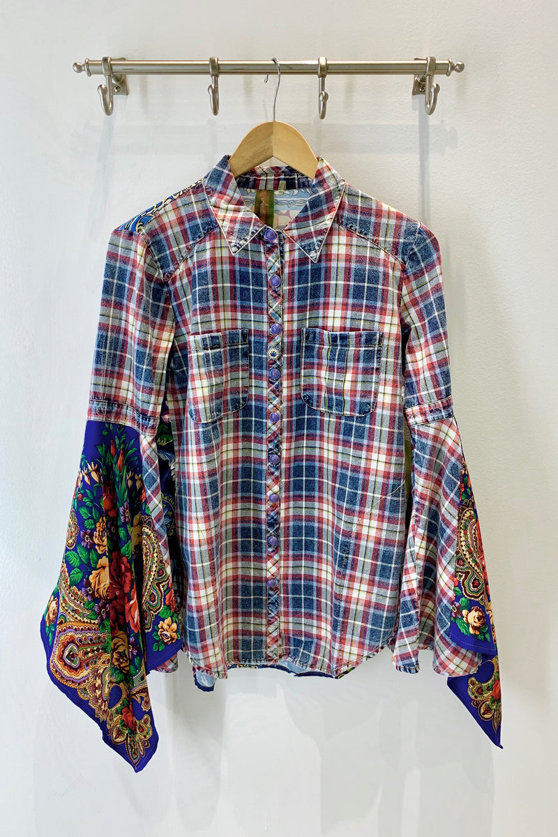 LAST CALL SIZE S | Plaid Button Down with Mixed Media Exaggerated Sleeves