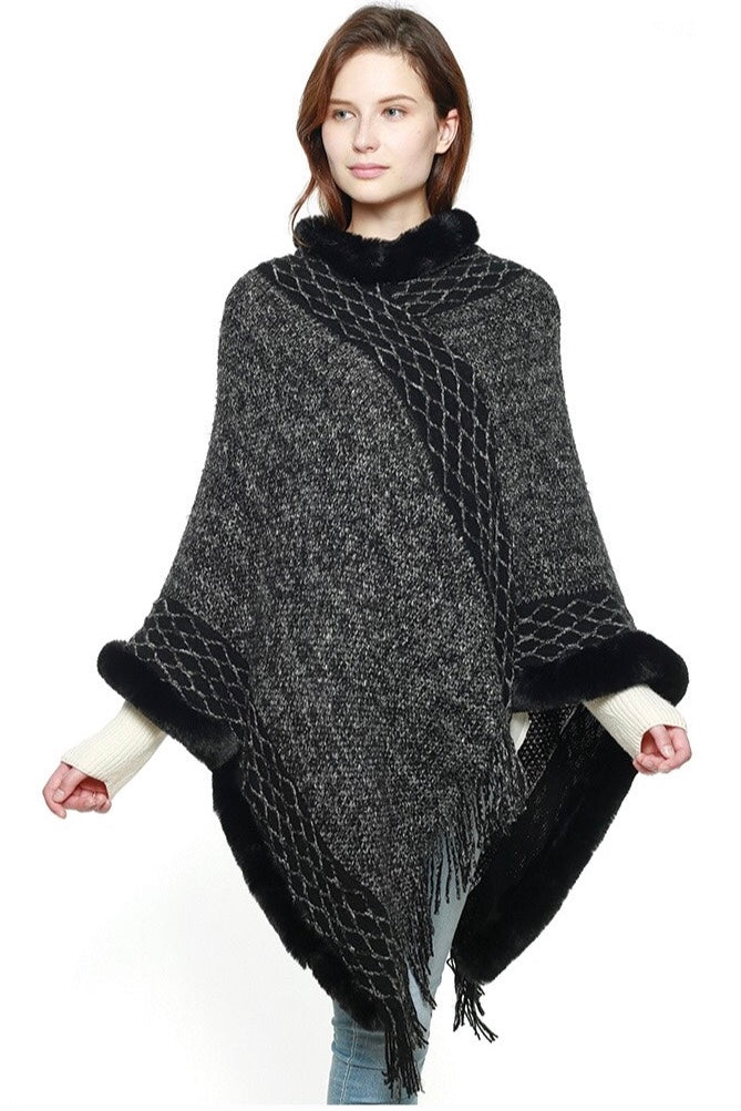 Knit Poncho with Faux Fur in Black