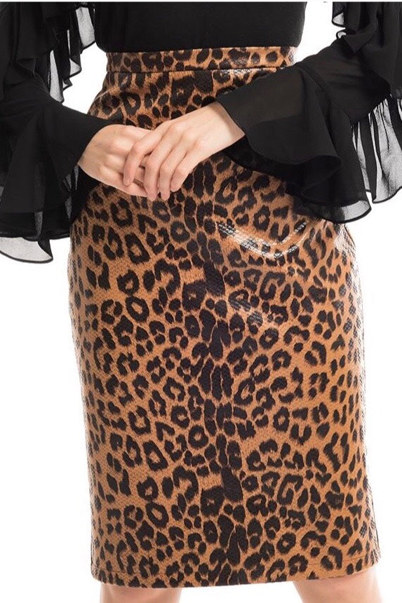 LAST CALL SIZE M | Patent Leather Leopard Print Pencil Skirt