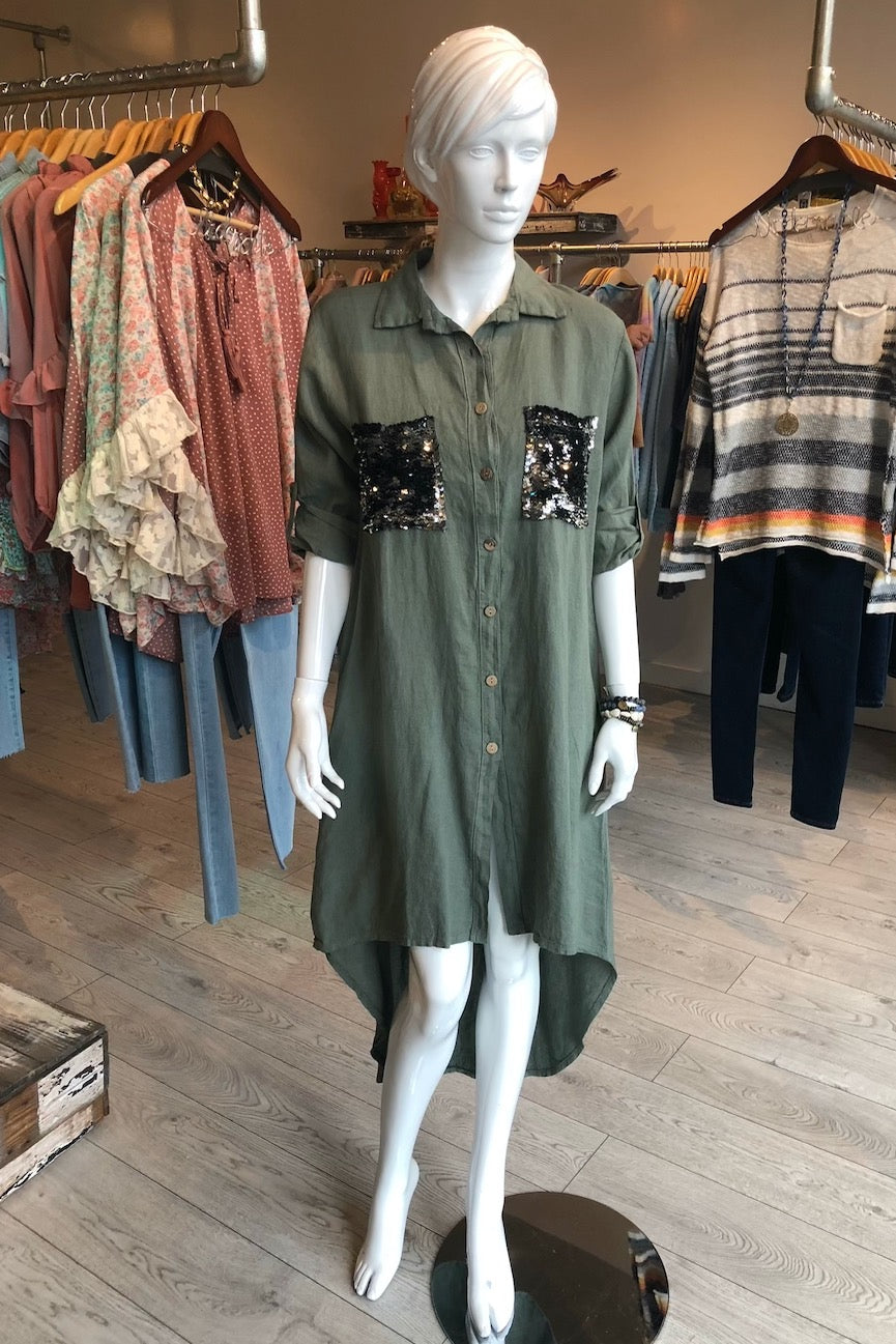 Sequin Pocket Camo Shirt Dress in Light Olive Green