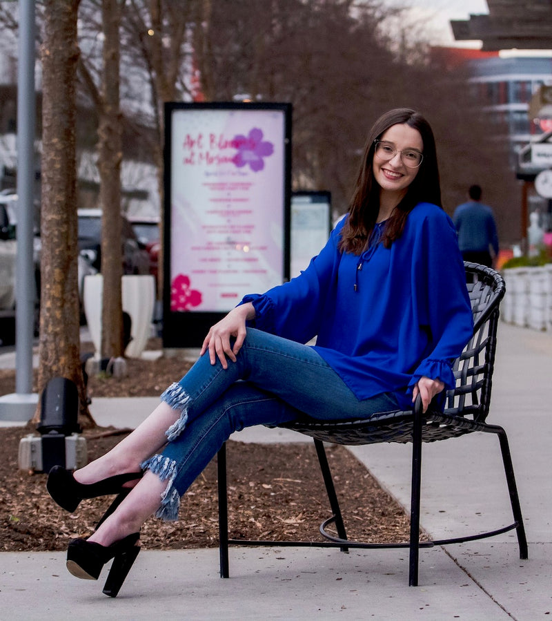Long Flutter Sleeve Blouse in Electric Blue Sitting