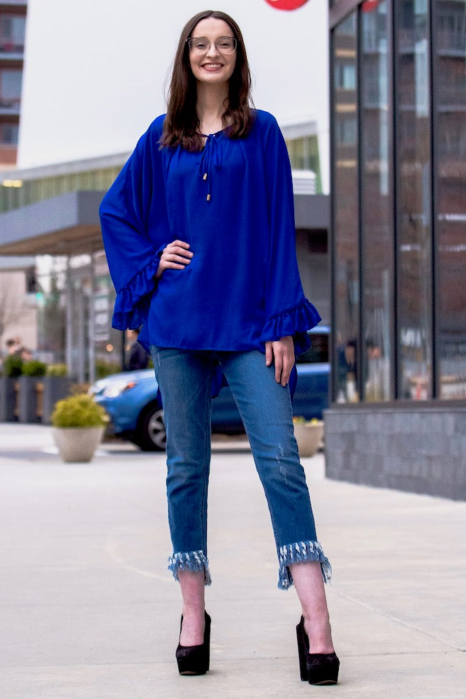 Long Flutter Sleeve Blouse in Electric Blue Tall
