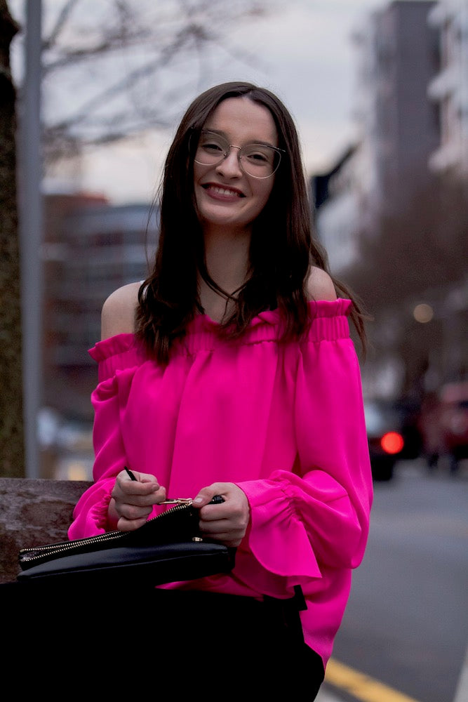 Off Shoulder Gathered Sleeve Blouse in Hot Pink