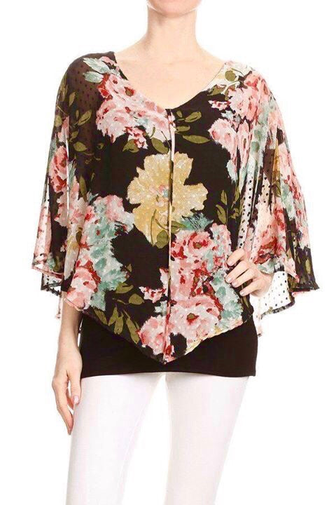 Floral Print Chiffon Overlay Top in Black