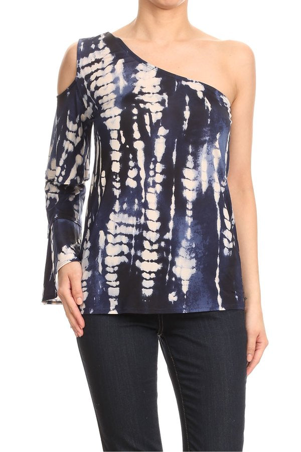 LAST CALL SIZE M | Navy Tie Dye Ruffle Sleeve Top