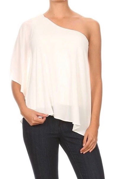 LAST CALL SIZE M | One Shoulder Diagonal Hem Top in Ivory