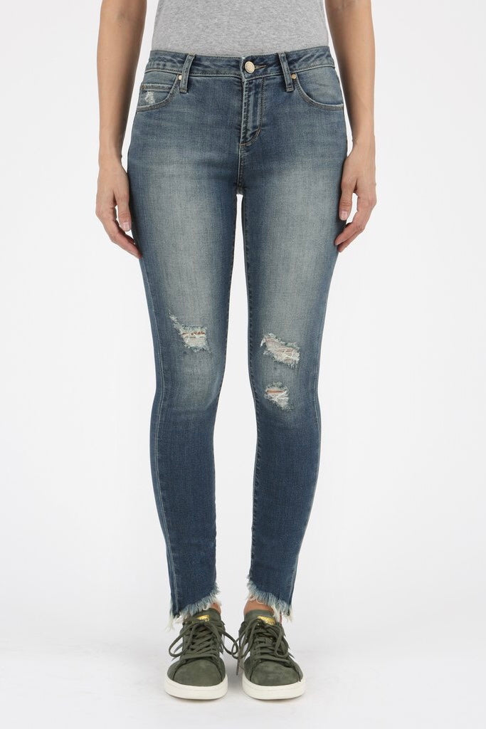 Diagonal Cut Hem Distressed Skinny Jeans