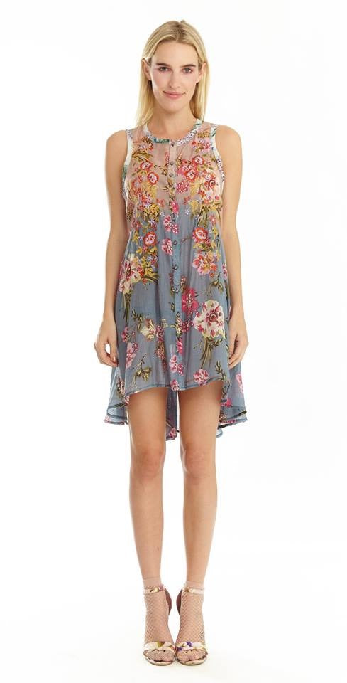 LAST CALL SIZE M | Embroidered Floral Lace Up Back Sleeveless Dress