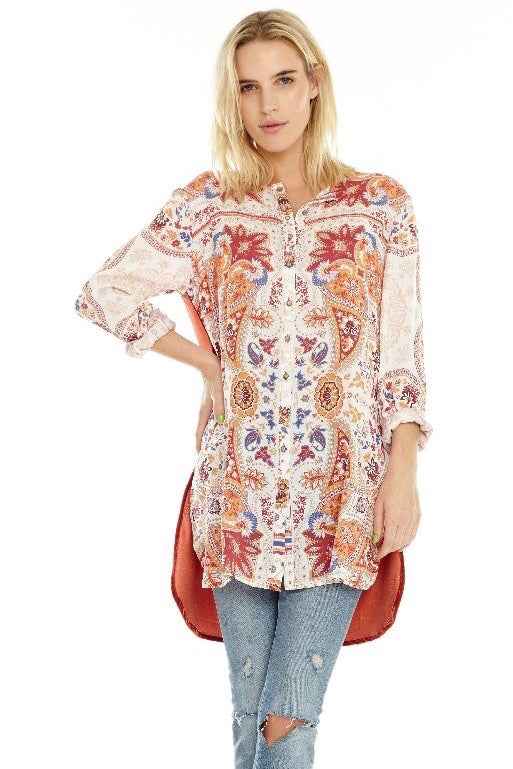 Floral Embroidery Tunic Top