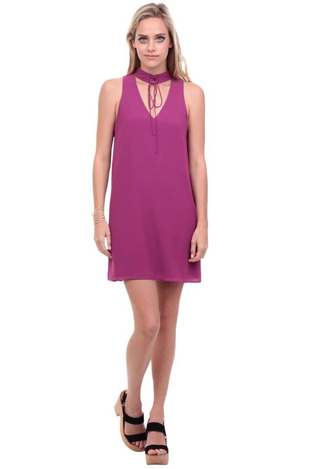 Lace Up Choker Dress in Magenta