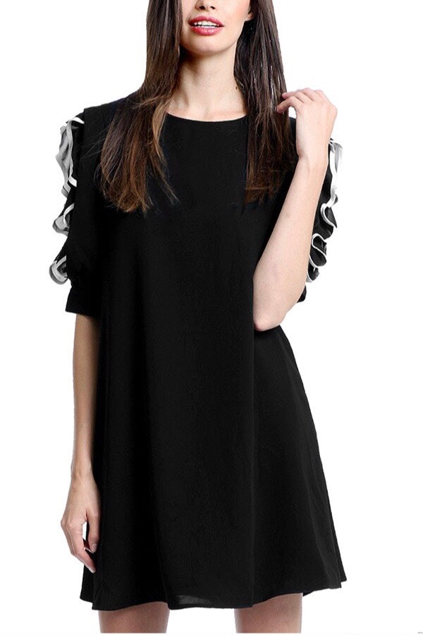 Little Black A Line Dress w/ Ruffle Sleeves