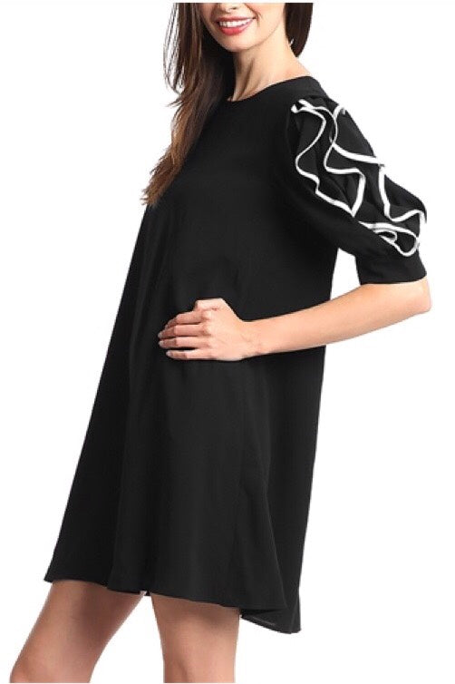 LAST CALL SIZE M | Little Black A Line Dress w/ Ruffle Sleeves