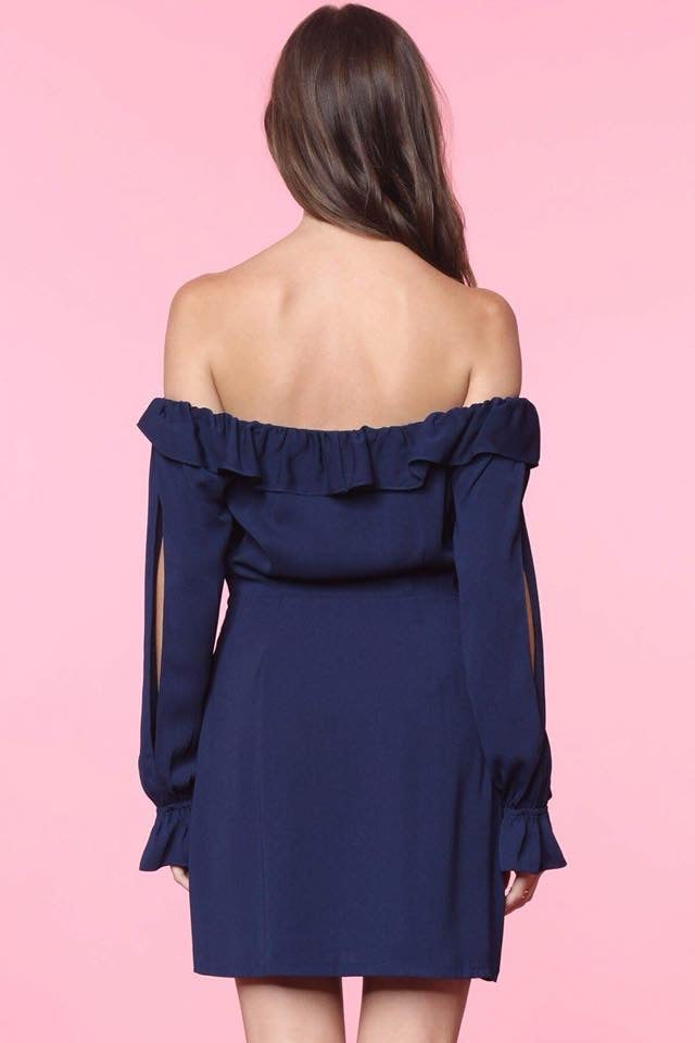 Off The Shoulder Split Sleeve Dress