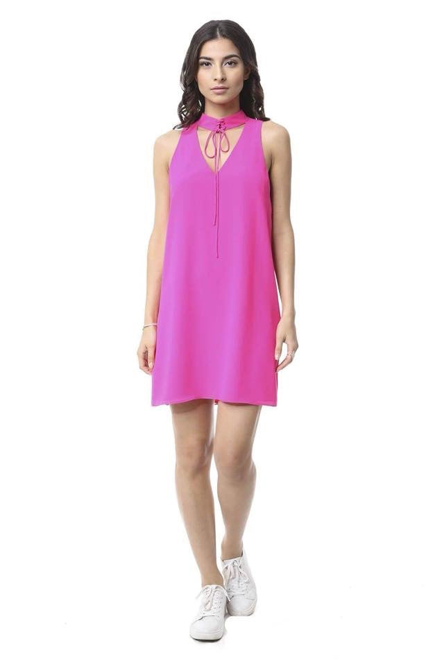 Lace Up Choker Dress in Pink