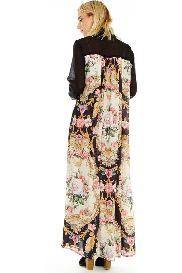 Mixed Print Black Duster with Floral Embroidery