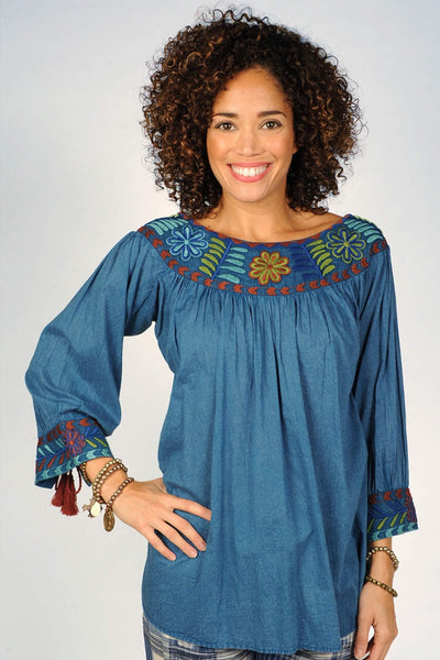 Embroidered Scoop Neck Tunic Top