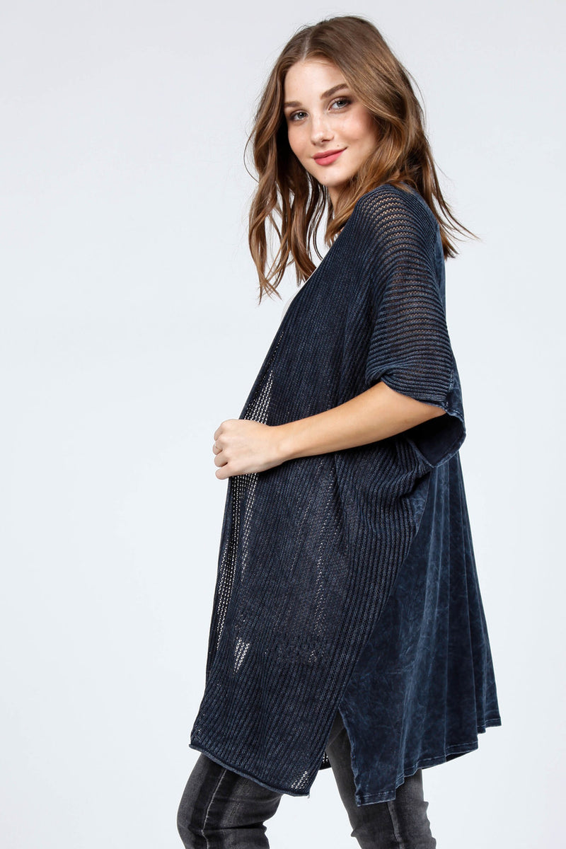 Open Front Poncho Cardigan Ink