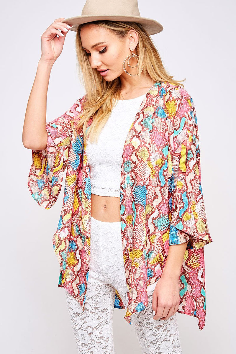 Multi Color Snake Print Open Jacket