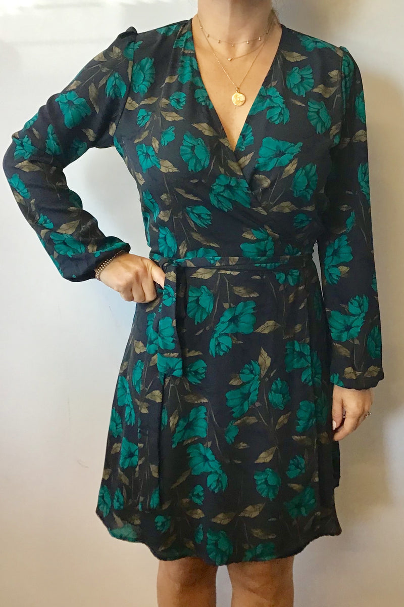 Winter Florals Long Sleeve Wrap Dress