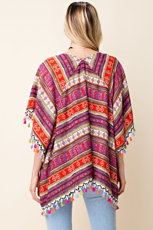 Last Call - Size L | Mixed Print Short Sleeve Poncho