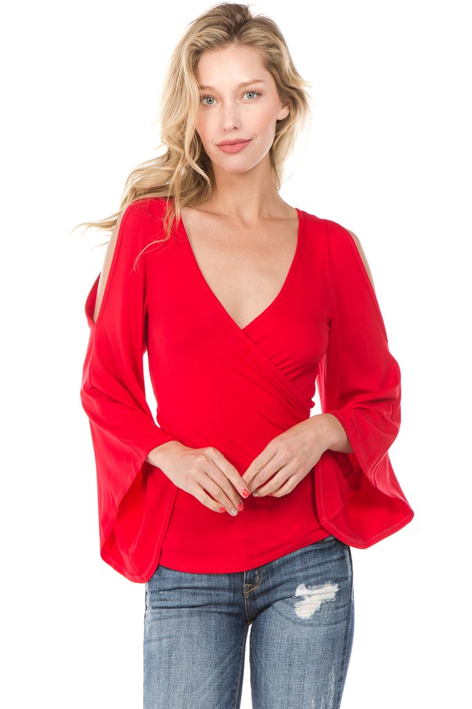 Cold Shoulder Long Sleeve Wrap Top