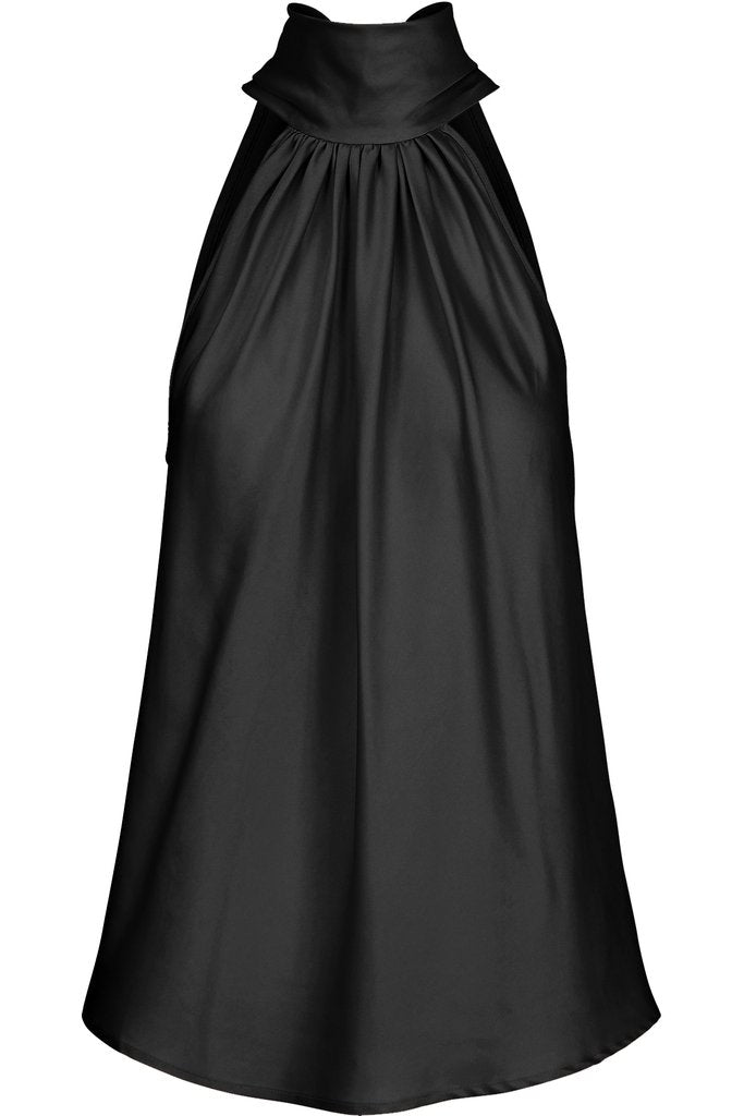 Sleeveless Tie Neck Top in Satin Black