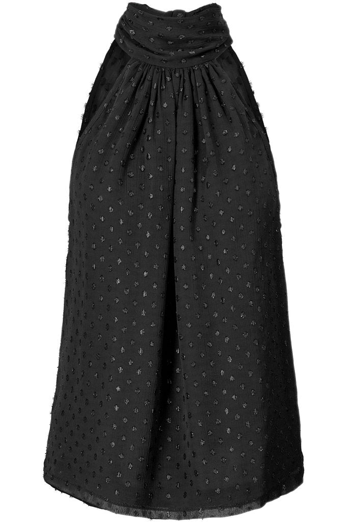 Sleeveless Tie Neck Top in Black Metallic Polka Dots