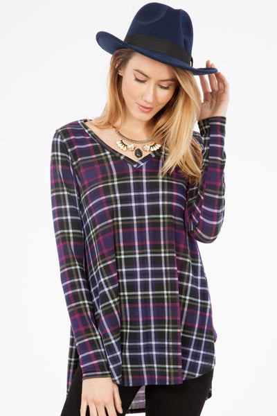 Plaid Jersey Top