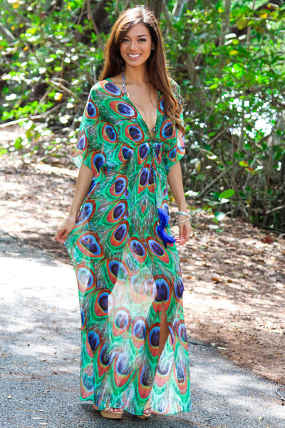 Peacock Feather Sheer Maxi Dress