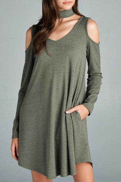 LAST CALL SIZE L | Olive Ribbed Knit Swing Dress