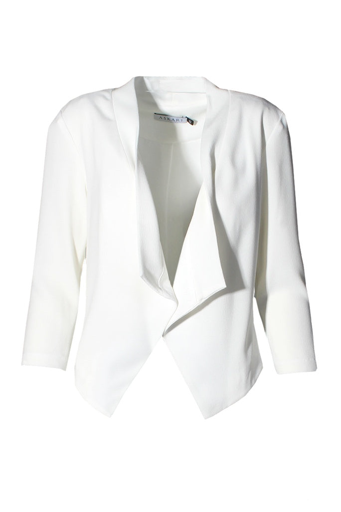 Ivory Draped Front Blazer Jacket