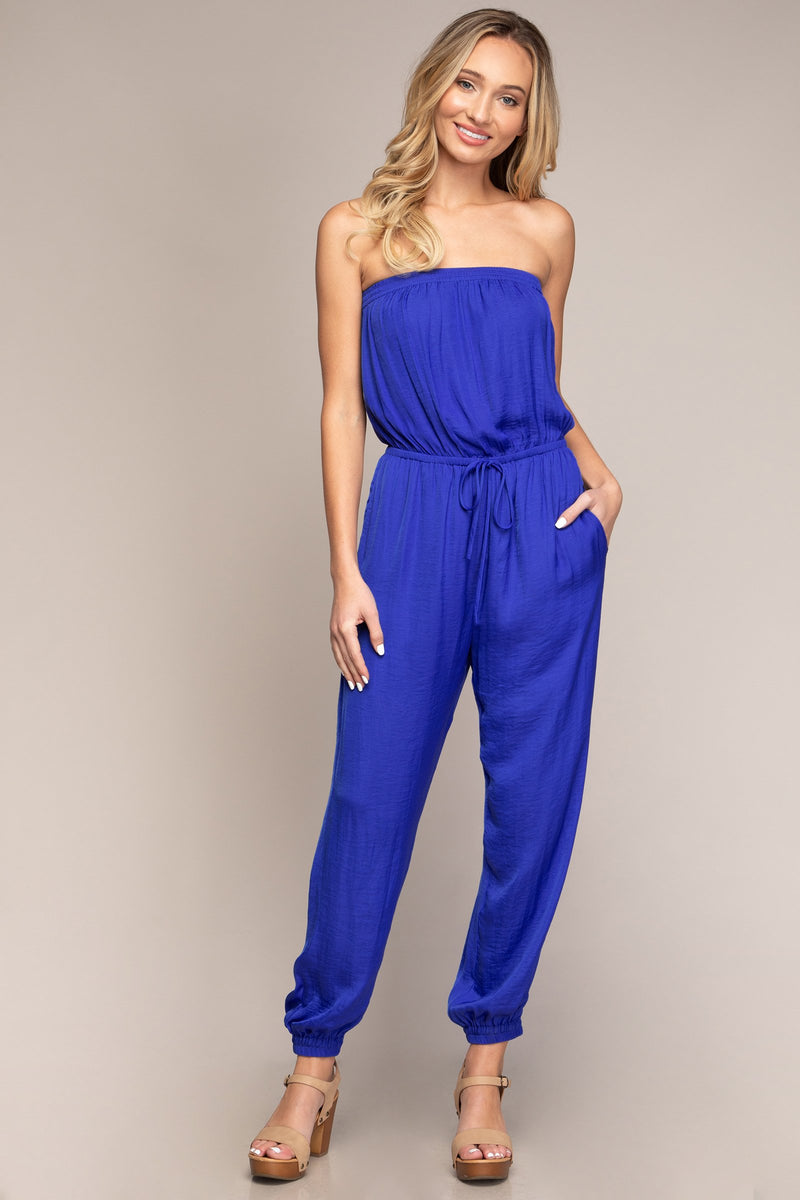 Tube Top Jogger Jumpsuit in Electric Blue
