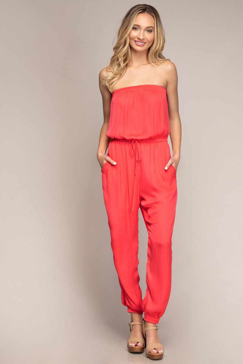 Tube Top Jogger Jumpsuit in Electric Coral