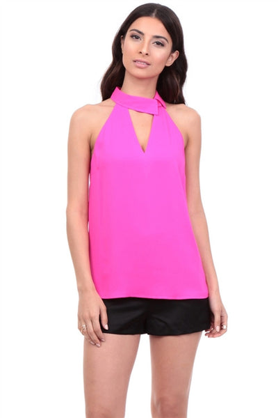 Sleeveless Blouse with Asymmetrical Collar and Plunge Neck in Hot Pink