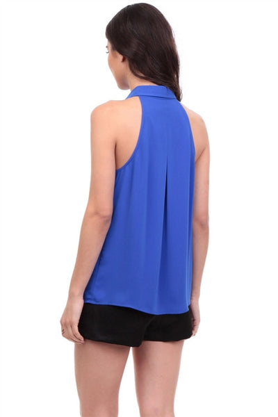 Sleeveless Blouse with Asymmetrical Collar and Plunge Neck in Capri Blue