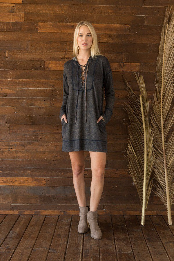LAST CALL SIZE M | Lace Up Sweatie Hoodie Dress