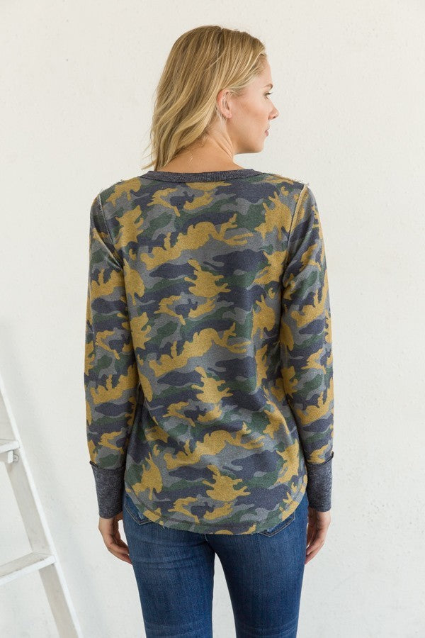 Camo Terry Henley Top