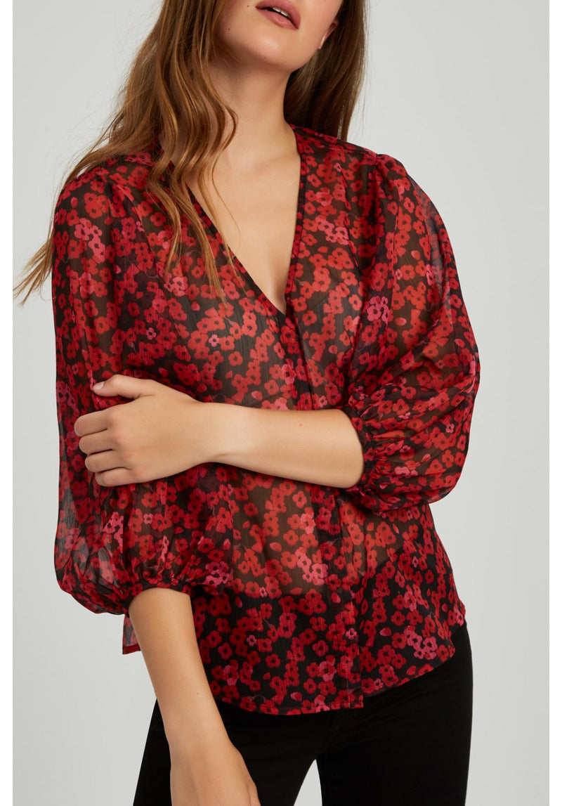Red Poppy Long Sleeve Top
