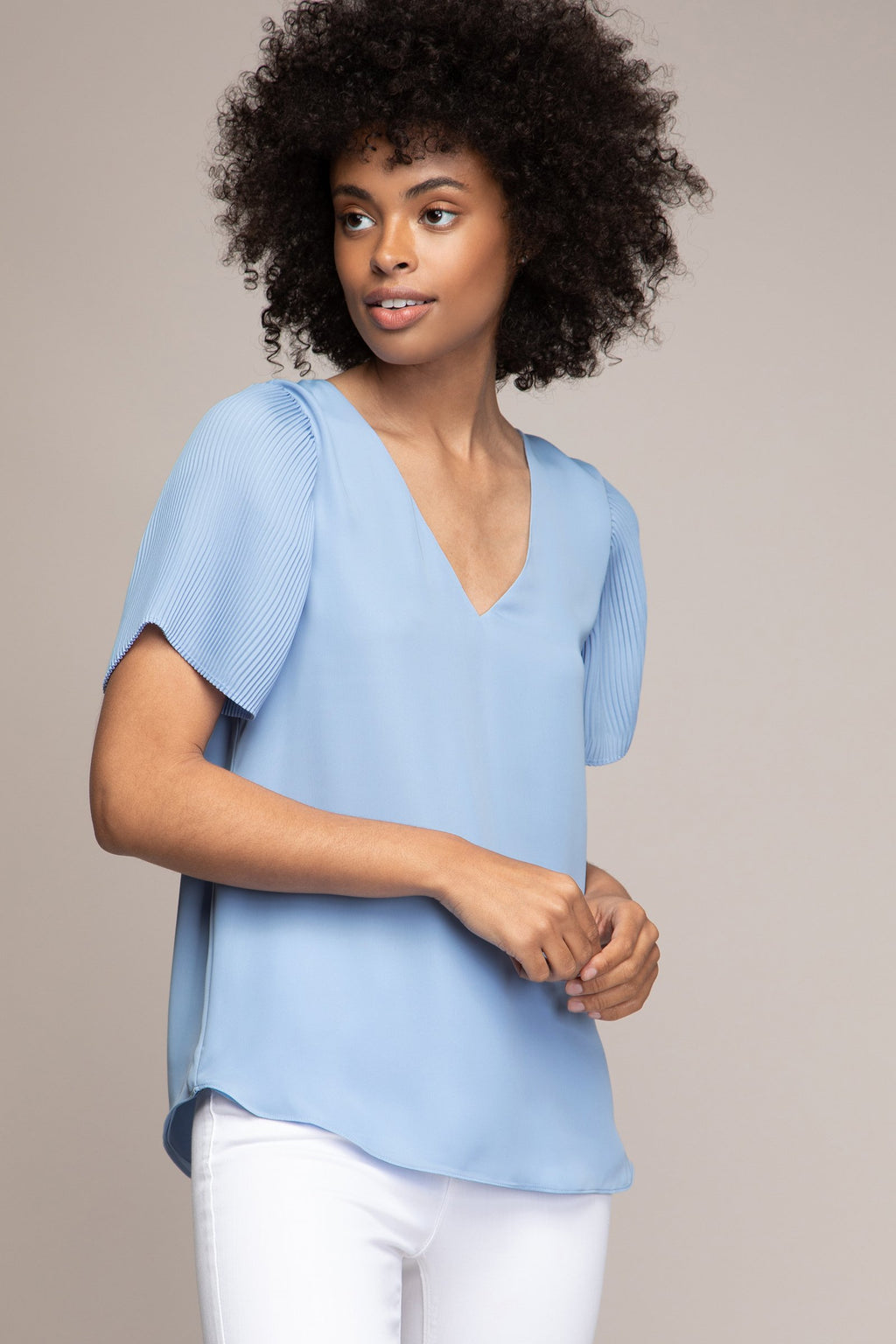LAST CALL SIZE L | Pleated Angel Sleeve Top with Tie Back in Light Blue