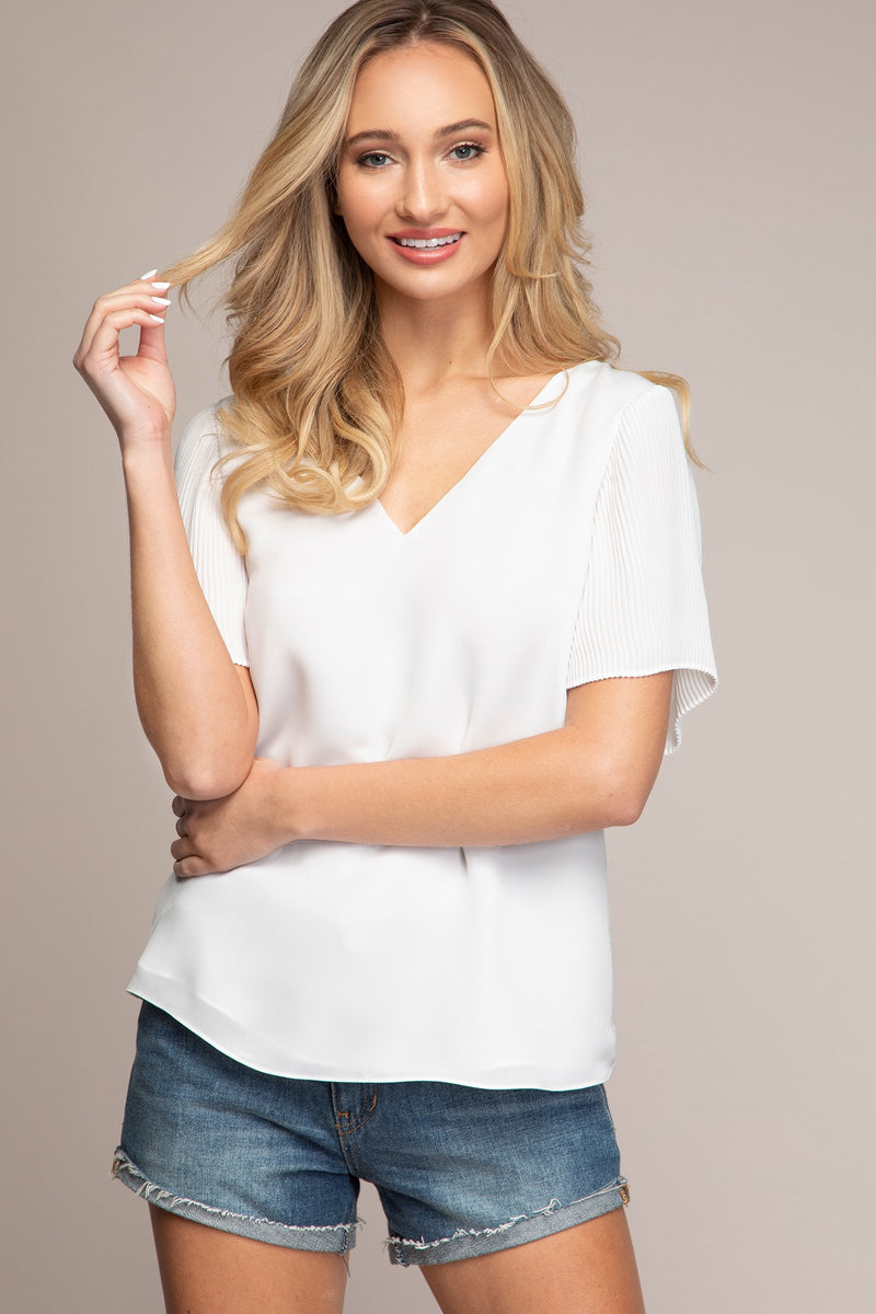 Pleated Angel Sleeve Top with Tie Back in Off White