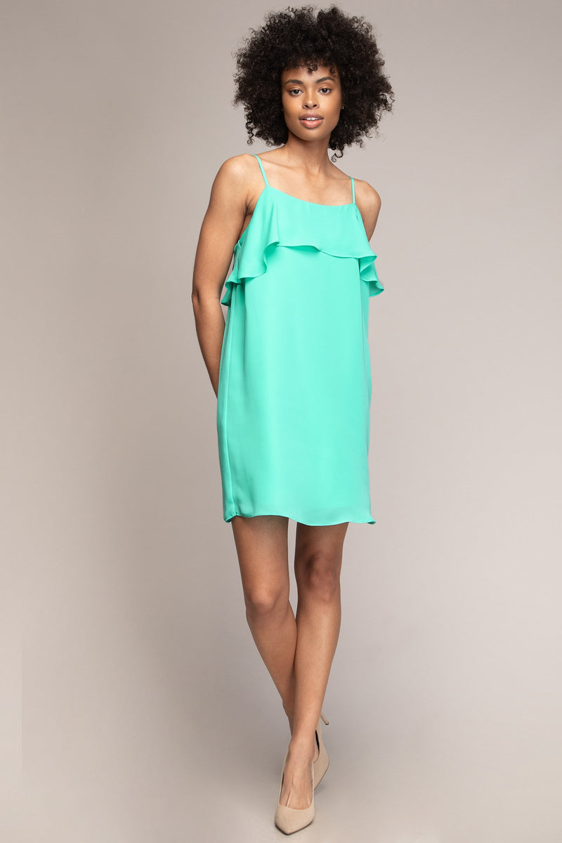 Single Ruffle Spaghetti Strap Dress in Ice Green