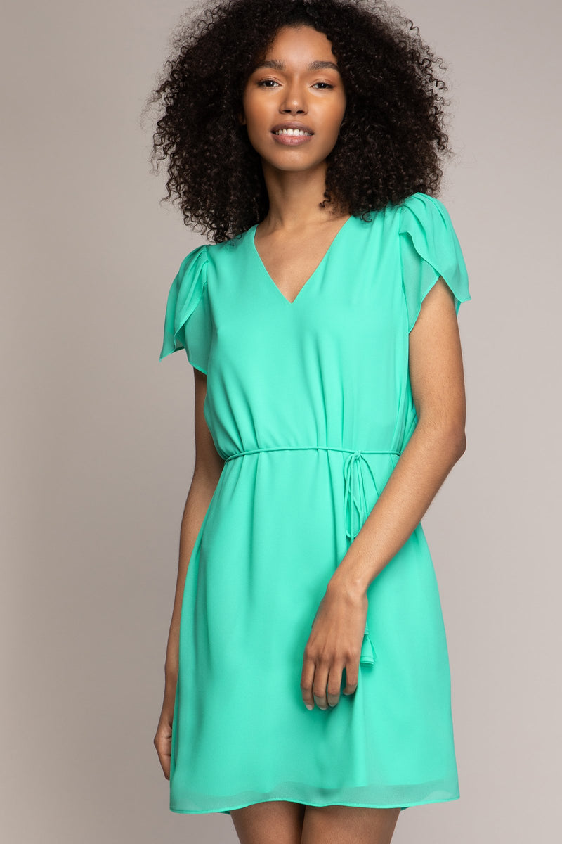 Tulip Sleeve Dress in Ice Green