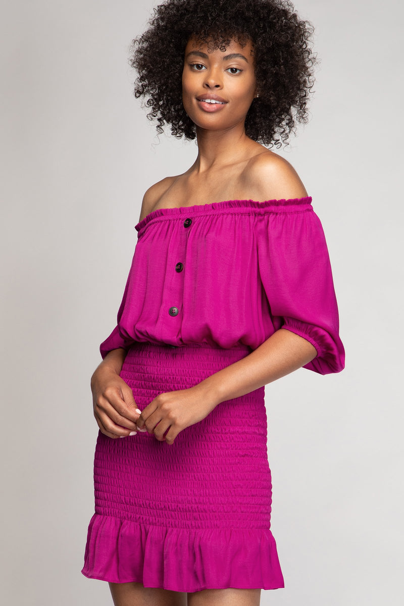 Cold Shoulder Smocked Skirt Dress in Berry