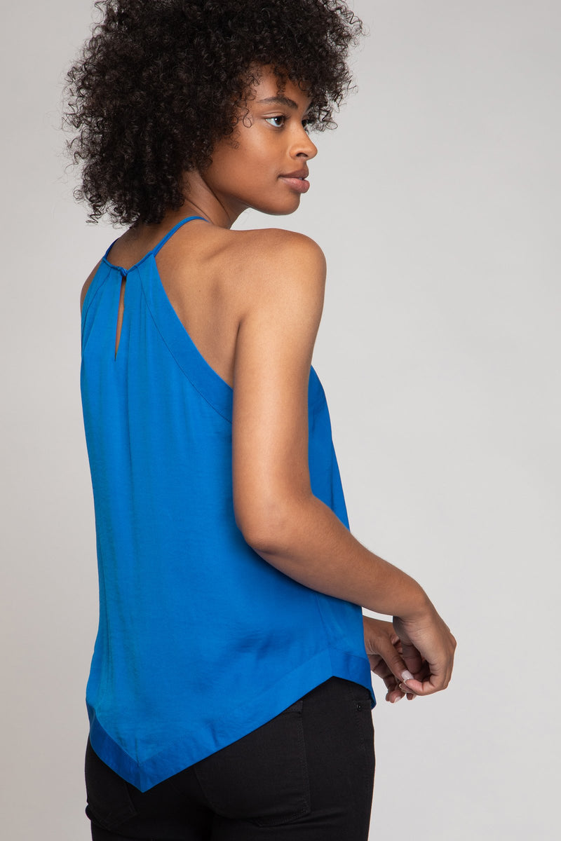 Sleeveless Halter Top in French Blue