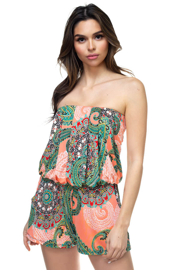 Paisley Print Romper in Coral