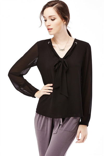 LAST CALL SIZE S | V Neck Tie Blouse