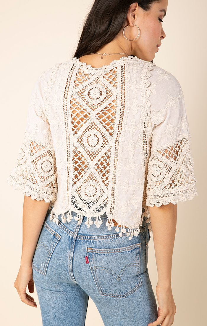 Cropped Crocheted Cardigan