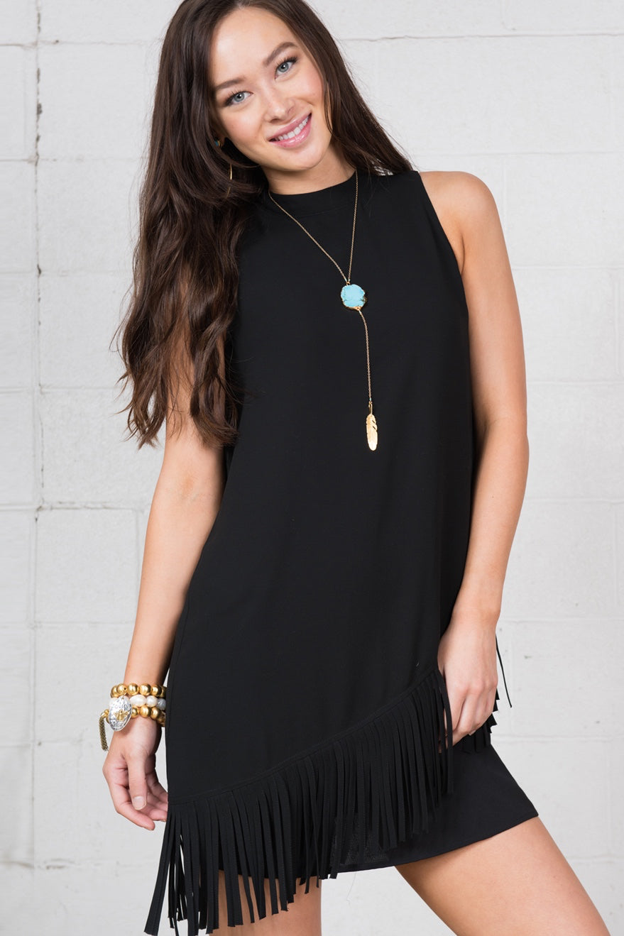 LAST CALL SIZE S | Asymmetric Fringed Out Little Black Dress