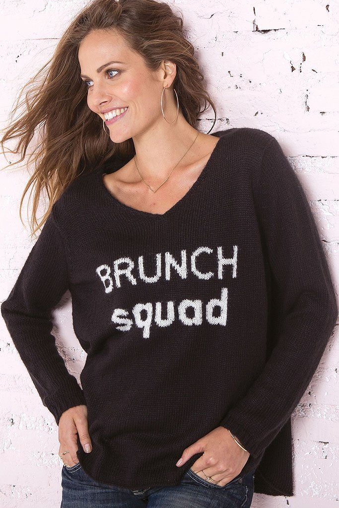 LAST CALL XS/S | Brunch Squad V-Neck Sweater in Black