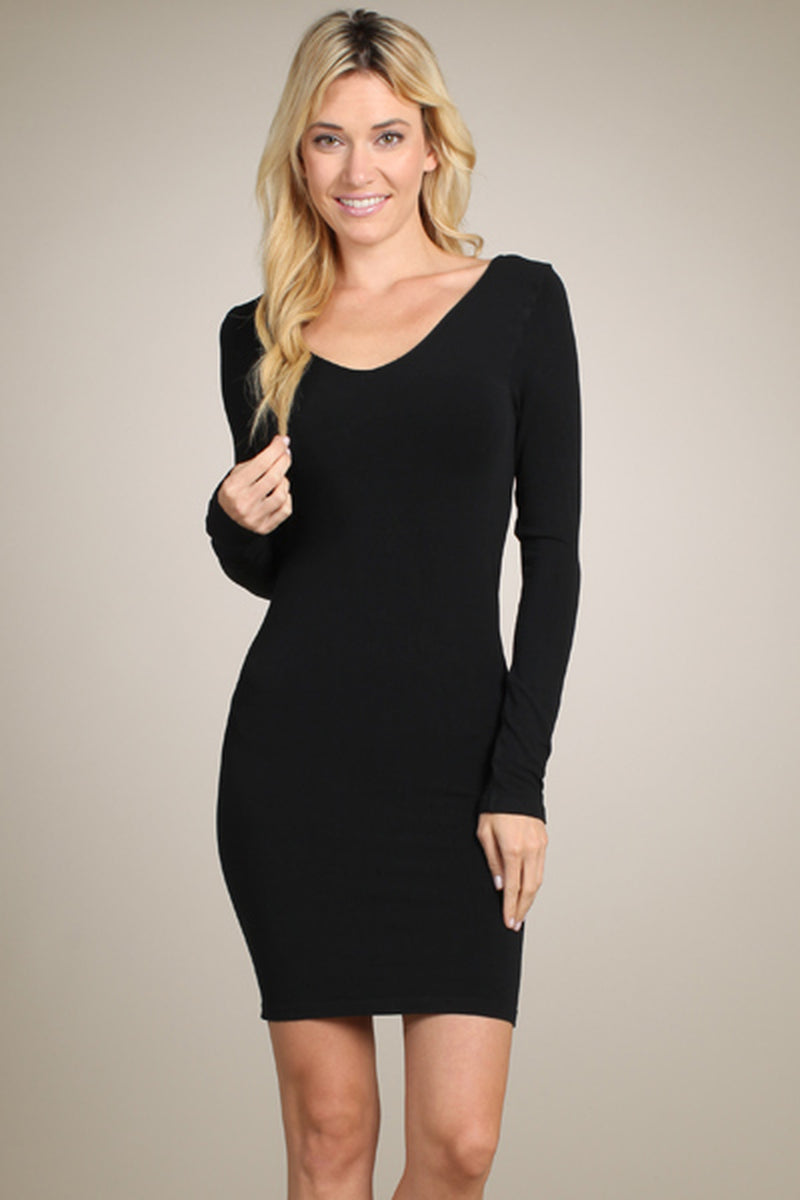 Black Long Sleeve Reversible Scoop/V-Neck Neck Seamless Dress